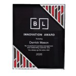 Black Acrylic Plaque with Accent and Mirror Corner Employee Awards