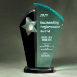 Patina Star Tower Jade and Black Lucite on Base Sales Awards